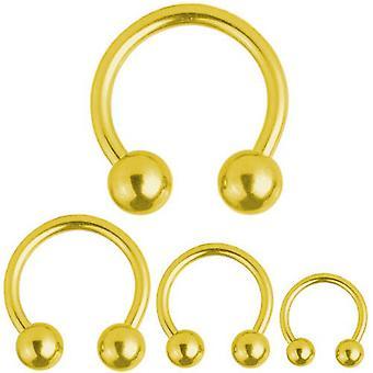 Cirkulär Barbell hästsko guld pläterad Titan Piercing 1,2 mm | Diameter 6-12