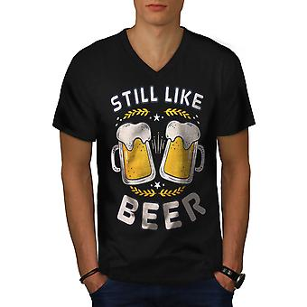 Like beer funy Men BlackV-Neck T-shirt | Wellcoda