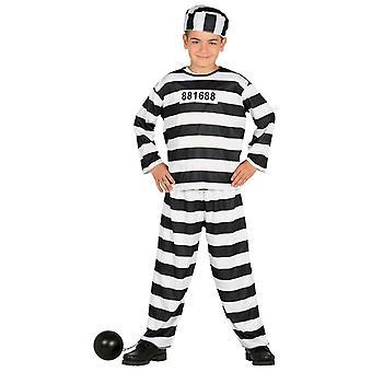 Boys Prisoner Convict Fancy Dress Costume