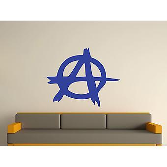Etiqueta de arte de la pared de la símbolo de anarquía - azul brillante