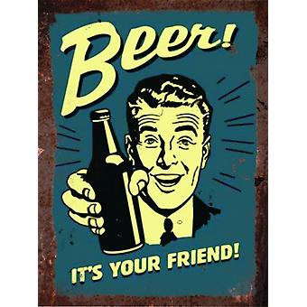 Vintage Metal Wall Sign - Beer, it's your friend!