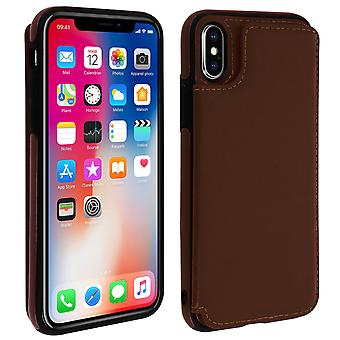 Apple iPhone X / XS Shockproof Case, Card Holder Wallet, Forcell, Brown