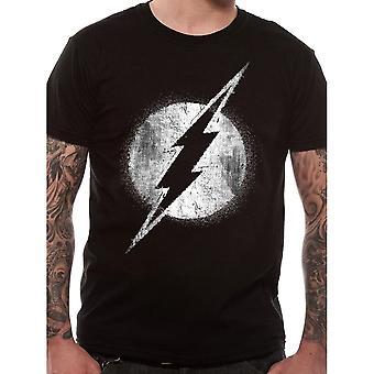 Men's The Flash Logo Mono Distressed Black T-Shirt