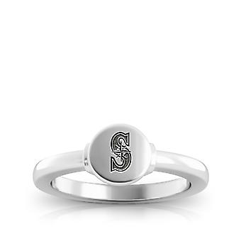 Seattle Mariners Engraved Sterling Silver Signet Ring