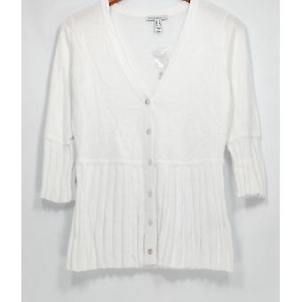 Isaac Mizrahi elää! Pusero kaula Pliseerattu Peplum Cardigan valkoinen A301932