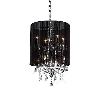 Diyas Ella Pendant With Back Shade 8 Light Polished Chrome/Crystal