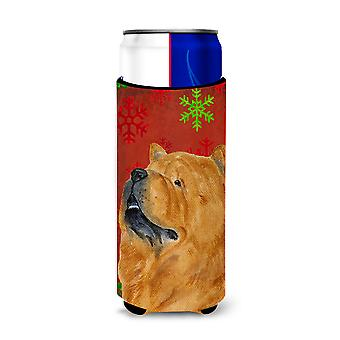 Chow Chow Red and Green Snowflakes Holiday Christmas Ultra Beverage Insulators f