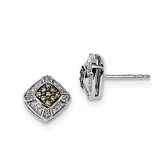 925 Sterling Silver Gift Boxed Cut out kanten Rhodium vergulde Champagne Diamond Small Square Post Oorbellen Sieraden Geschenken f