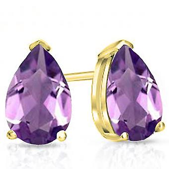 Dazzlingrock Collection 14K 7X5 MM Each Pear Amethyst Ladies Solitaire Stud Earrings, Yellow Gold