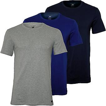Ted Baker 3-Pack Cotton Stretch Crew-Neck T-Shirts, Navy/Grey/Blue