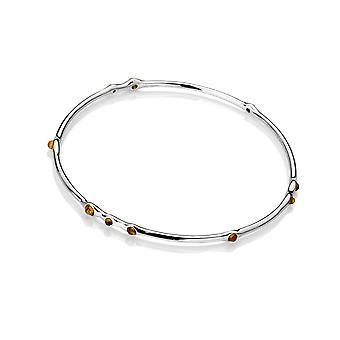 Emozioni Nettare Genuine Amber Stainless Steel Silver Plated Bangle EB077