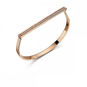 Fiorelli Silver Rose Gold Pave Hinged Bracelet B4862C