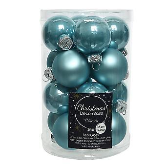 16 3.5cm Arctic Blue Glass Christmas Tree Bauble Decorations