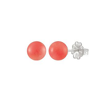 Eternal Collection Solo Coral Semi Precious Sterling Silver Stud Pierced Earrings