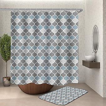 Grey Aqua Moroccan Shape Shower Curtain
