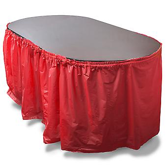 14-foot Red Reusable Plastic Table Skirt, Extends up to 20ft