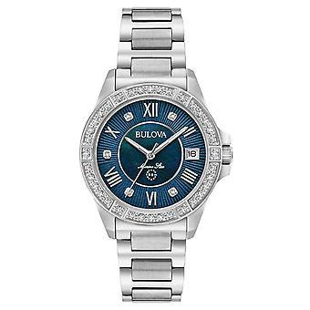 Bulova 96r215 Navy Star Diamond Ladies Watch 32 Mm
