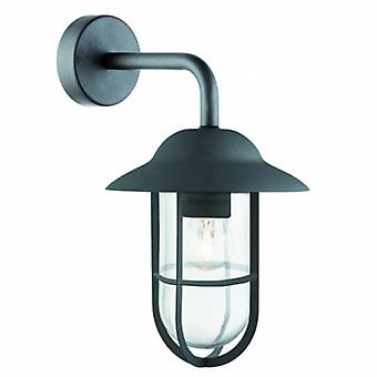 1 Light Outdoor Dome Wall Light Black Ip44glass Lanterns Matt