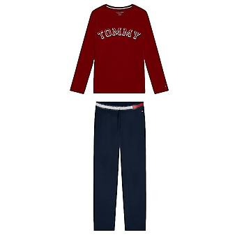 Tommy Hilfiger Girls Logo Long Sleeve Pyjama Set - Rhubarb/Navy Blazer