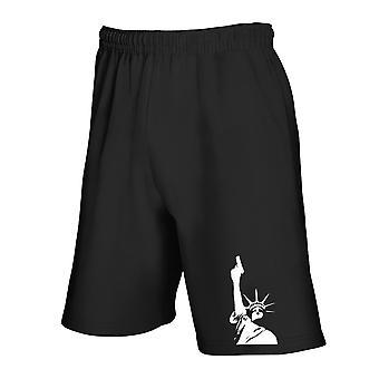 Black tracksuit shorts fun3691 de estatua de la libertad with la escopeta