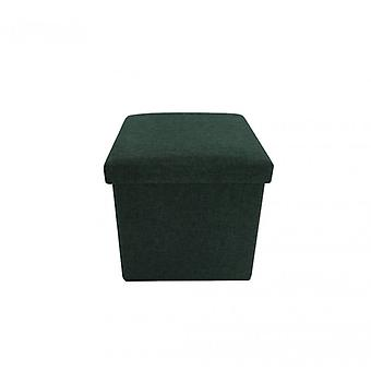 Meubles Rebecca Pouf Sitting Dark Green Cube Cotton Container 30x30x30