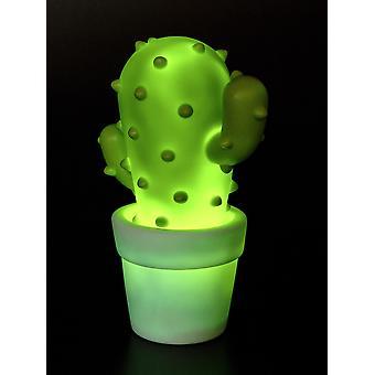 Lámpara nocturna de cactus Luz nocturna de color verde oscuro, hecha de plástico, luces, funciona con batería.