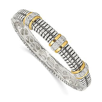 925 Sterling Silver Hinged Polished Prong set Hidden catch finish and 14k Yellow Diamond Cuff Stackable Bangle Bracelet