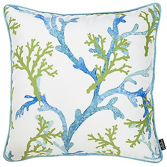 Square White Blue And Green Coral Decorative Throw Pillow Cover