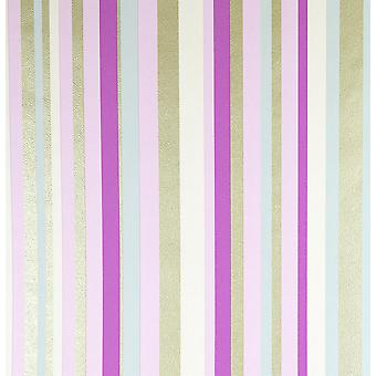 Rose Stripe Textured Wallpaper Purple Gold Metallic Pink Cream Pastel Muriva