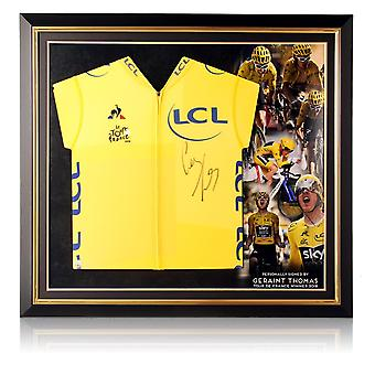 Geraint Thomas Signed Tour De France 2018 Yellow Jersey. Premium Frame