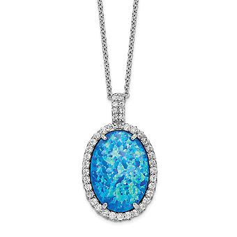 16.7mm Cheryl M 925 Sterling Silver Cubic Zirconia and Lab Simulated Blue Opal Necklace 18.5 Inch Jewelry Gifts for Wome