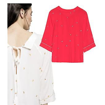 Grace et Mila Masque Gold Butterfly Embroidery Tie Back Blouse