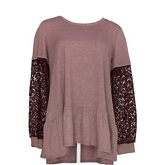 LOGO by Lori Goldstein Women's Top Terry w/ Crochet Sleeves Brown A341945