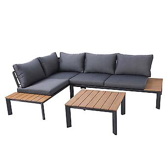 Charles Bentley Polywood Lounge Set with Recliner Seat Multi use Wooden Black Stylish Outdoor 8cm Dark Grey Cushions