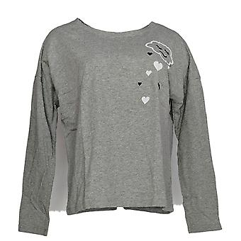 Life Is Good Women's Snuggle Up Long-Sleeve PJ Top Gray A371583