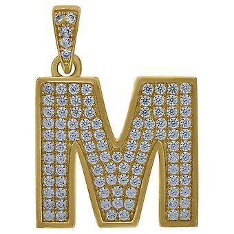 10kイエローゴールドメンズ女性キュービックジルコニアCZ文字名パーソナライズモノグラム初期Mチャームペンダントネックレス対策