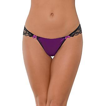 Plus Size Jeweled Purple Lace Open Back Panty Underwear Lingerie