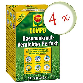 Sparset: 4 x COMPO Lawn Weed Killer Perfect, 200 ml