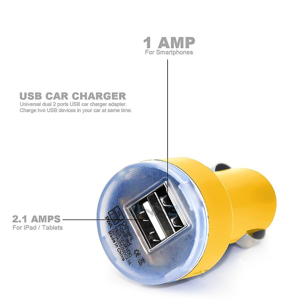Huawei Y635 In auto Dual Port 2.1 Amp proiettile USB Charger + 2 x Micro USB cavo di sincronizzazione dati (giallo)