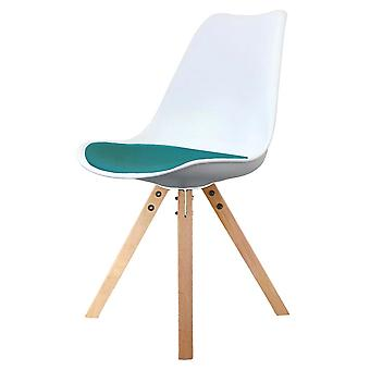 Fusion Living Eiffel Inspiré Blanc et Sarcelle Dining Chair with Square Pyramid Light Wood Legs