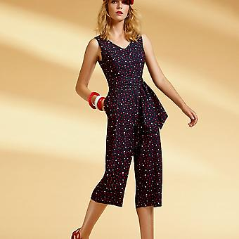 Arggido Navy Blue Sleeveless Cropped Leg Jumpsuit With Heart Detail