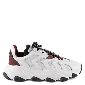 Ash EXTREME Trainers White Leather & Bordeaux Mesh