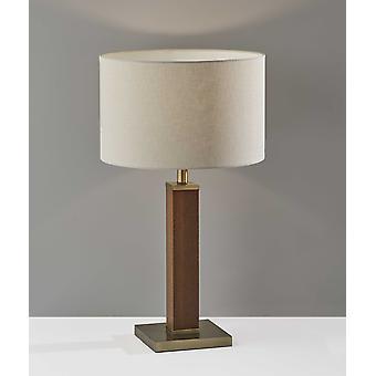 Walnut Wood Finish Monument Table Lamp