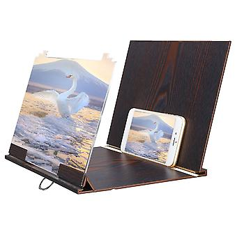 Upgraded version universal 12 inches wooden foldable screen magnifier image enlarge desktop holder with ring holder + shading for mobile phone