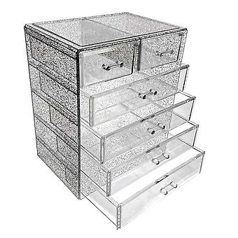 OnDisplay Cosmetic Makeup and Jewelry Storage Case Display - 6 Drawer Silver Glitter Design - Perfect for Vanity, Bathroom Counter, or Dresser