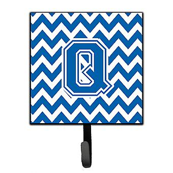 Letter Q Chevron Blue and White Leash or Key Holder