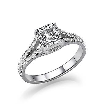 1 1/2 Carat E VS2 Diamond Engagement Ring 14k White Gold Split Shank Diamond Ring Princess Cut