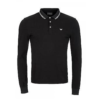 Emporio Armani Cotton Pique zwarte Polo met lange mouwen