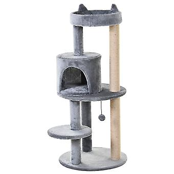 PawHut 3-Tier Deluxe Cat Activity Tree w/ Scratching Posts Ear Perch House Platform Play Ball Plush Fun Toys Exercise Rest Relax Climb Kitten Pets Grey