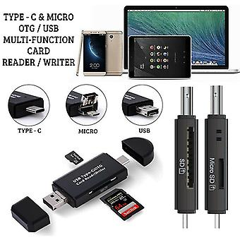 Type C & Micro Usb Otg To Usb 2.0 Adapter SD/Micro SD Card Reader Compatible With Blackview Max 1 (Projector Phone)